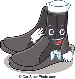 A brave sailor caricature design style of dive booties ready...