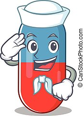 A brave sailor caricature design style of pills drug ready ...