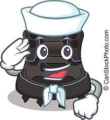 A brave sailor caricature design style of scuba buoyancy ...
