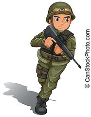 Illustration of a brave soldier fighting on a white background
