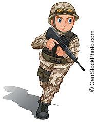 A brave soldier with a gun