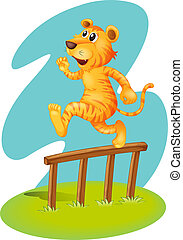 A brave tiger jumping over the wooden fence