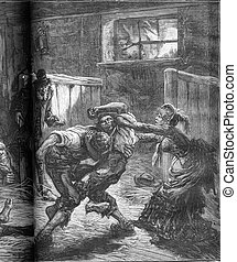 A brawl in a flophouse in London. The woman and her...