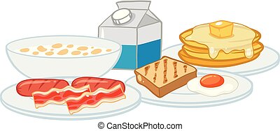 A Breakfast Set on White Background
