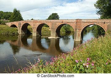 a, bredwardine, bridzs, felett, folyó wye, alatt,...