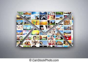 a, brev, e-post, formge grundämne, gjord, av, bilder, av,...