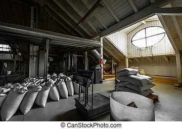 a brewery building's attic, granary, interior - a brewery...