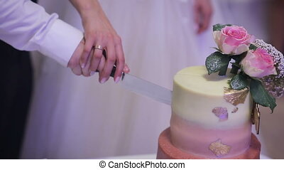 A bride and a groom cutting their wedding cake. Close up