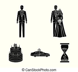 A bride and groom in a wedding dress with a bouquet of roses in their hands, a groom in a festive suit, a cadillant of newlyweds decorated with ribbons and hearts, a wedding cake with the bride and groom. Wedding set collection icons in black style vector symbol stock illustration web.