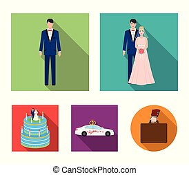 A bride and groom in a wedding dress with a bouquet of roses in their hands, a groom in a festive suit, a cadillant of newlyweds decorated with ribbons and hearts, a wedding cake with the bride and groom. Wedding set collection icons in flat style vector symbol stock illustration web.