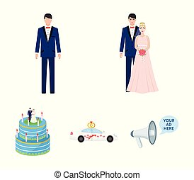 A bride and groom in a wedding dress with a bouquet of roses in their hands, a groom in a festive suit, a cadillant of newlyweds decorated with ribbons and hearts, a wedding cake with the bride and groom. Wedding set collection icons in cartoon style vector symbol stock illustration web.