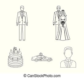 A bride and groom in a wedding dress with a bouquet of roses in their hands, a groom in a festive suit, a cadillant of newlyweds decorated with ribbons and hearts, a wedding cake with the bride and groom. Wedding set collection icons in outline style vector symbol stock illustration web.