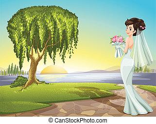 A bride at the road