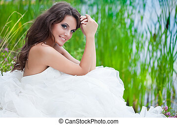 A bride in the field