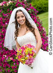 A bride with a bouquet