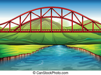 A bridge above the river - Illustration of a bridge above ...