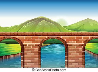 Illustration of a bridge across the mountains
