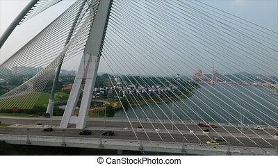 A bridge in a city - A close up of a stunning white bridge...