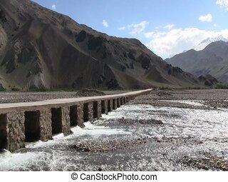 A bridge in Baharak, Afghanistan - A bridge crossing n...