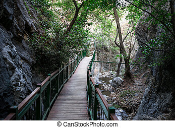 A bridge walk from Millomeris fall back to the car park, Platres