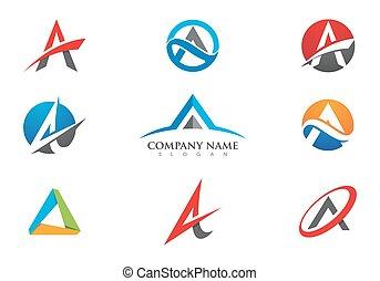 a, brief, logo, schablone