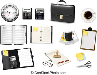 A briefcase, calculator, notebooks