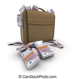 A briefcase full of cash in five hu