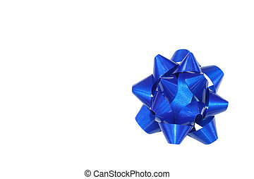 A bright blue gift bow isolated on white to be used for gifts or presents during any Holiday or celebration with room for your text.