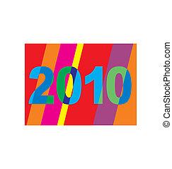 A bright, cheerful, striped 2010 Newyear greeting card