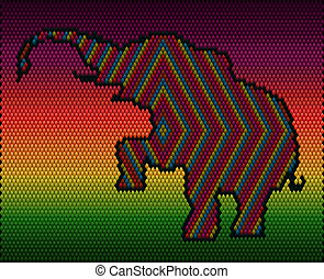 A bright, colorful elephant embroidered on the fabric.
