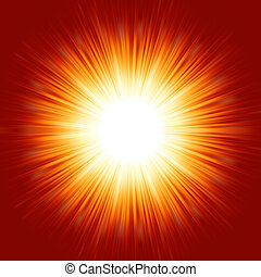 A bright exploding burst over a red background. EPS 8 vector file included