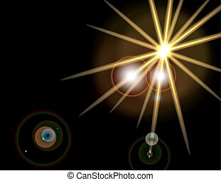 A bright flash of a star. Explosion of light on a black background. illustration