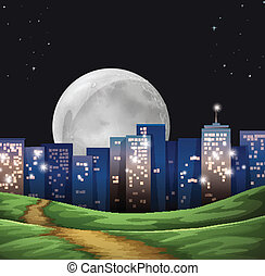 A bright fullmoon in the city