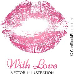 A bright pink imprint of the lips.