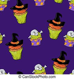 A bright seamless pattern for Halloween with a picture of capkakes, hats and skulls.