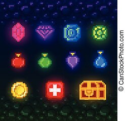 A bright set of pixel art elements for the game. 8 bit icons in a modern style.
