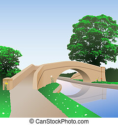 Canal Bridge - A British Canal Bridge with Towpath