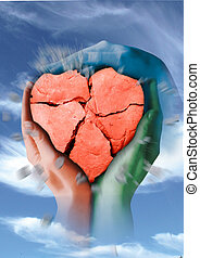 heart - A broken stone heart of clay is held by three...