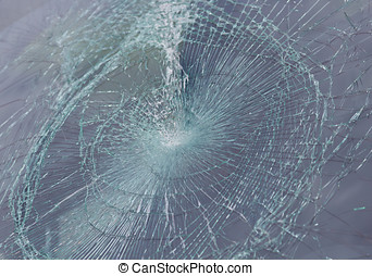 a broken windshield