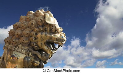 bronze Chinese dragon statue - A bronze Chinese dragon...
