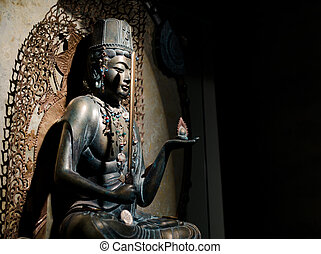buddhist - a bronze statue of buddhist religion