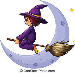 A broomstick with a witch near the moon