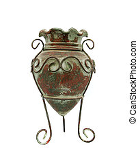 a brown and green antique vase over white