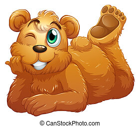 A brown bear - Illustration of a brown bear on a white...