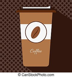 A brown cup of hot coffee with a ca