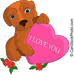 A brown dog in the hands holds the heart, I love you, a cartoon on a white background.