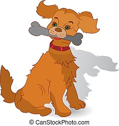 A brown dog in the teeth holds a bone, cartoon on a white background,