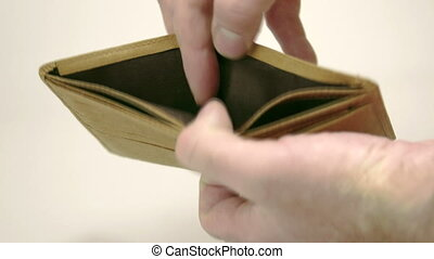 A brown empty wallet with mans hand