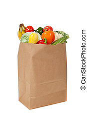 a brown grocery sack full of vegetables on white