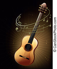 A brown guitar with musical notes